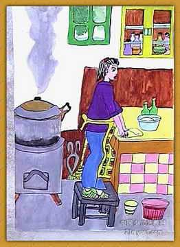 画画大全 儿童水粉画 《我帮妈妈学干家务》儿童画作品欣赏下载-画