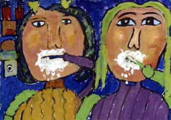 《我和妈妈比刷牙》儿童画