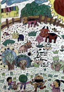 《我爱我的家》儿童画