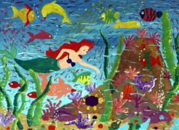 儿童画 《锄草》儿童画2幅
