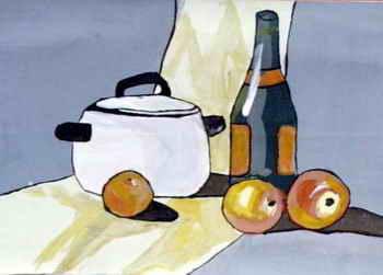《静物写生》儿童画,这幅油画棒画作品长251px