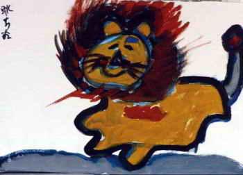 儿童画画大全 儿童水粉画  《风中的狮子》儿童画图片下载说明:在图片
