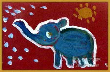 儿童画画大全 儿童油画棒画  《大象》儿童画8幅下载说明:在图片上