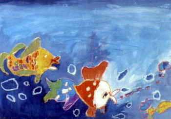 《两条小金鱼》儿童画作品欣赏