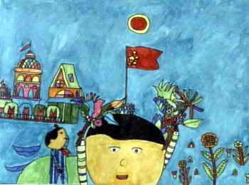 《我的中国心》儿童画作品欣赏