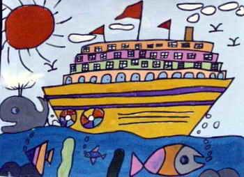 《大轮船》儿童画3幅