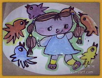 儿童画画大全 儿童水墨画 《我爱小鸟》儿童画7幅下载说明:在图片上