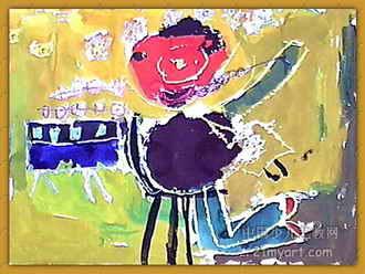 儿童画 《跳新疆舞的小朋友》儿童画图