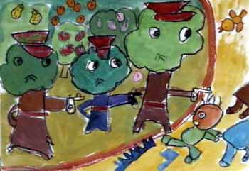 《森林警察》儿童画2幅