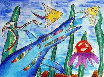 5高   儿童蜡笔画作品:《过新年》   img.ertongtuku.com 宽500x
