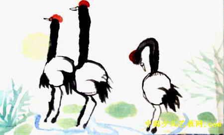 《仙鹤图》儿童画作品欣赏