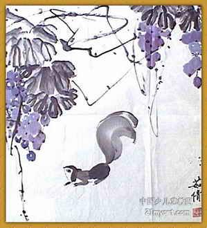 《葡萄与松鼠》儿童画