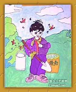 植树造林 儿童画图片
